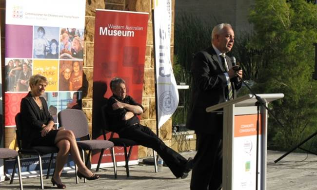 Paul Collard and Michelle Scott present alongside the WA Museum chief executive officer