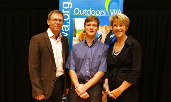 Dr Michael Ungar, Jamie Bennett from Outdoors WA and Commissioner Michelle Scott