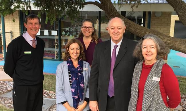 The Commissioner at Carey Park Child and Parent Centre with (L to R) Carey Park Primary School principal Peter Rigden, Centre coordinators Pam Macnish and Deb Woods, and Investing in our Youth chief executive officer Carmen Gregg.