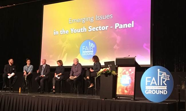 Commissioner Colin Pettit joined the panel discussion on Emerging issues in the youth sector at the Fairground 2016 conference.