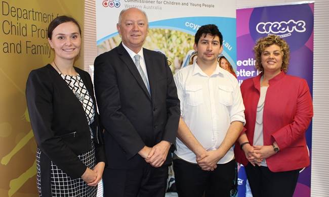Katherine Browne, State Coordinator of CREATE; Colin Pettit, Commissioner for Children and Young People; Andre, CREATE Young Consultant; Emma White, Director General of the Department for Child Protection and Family Support