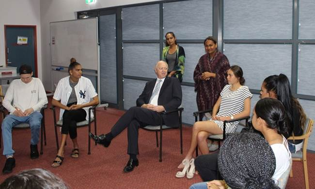 The young people spoke to the Commissioner about the opportunities that the program has afforded them