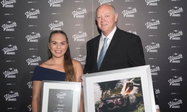 2016 Participate award winner, Brianne Yarran with the Commissioner, Colin Pettit