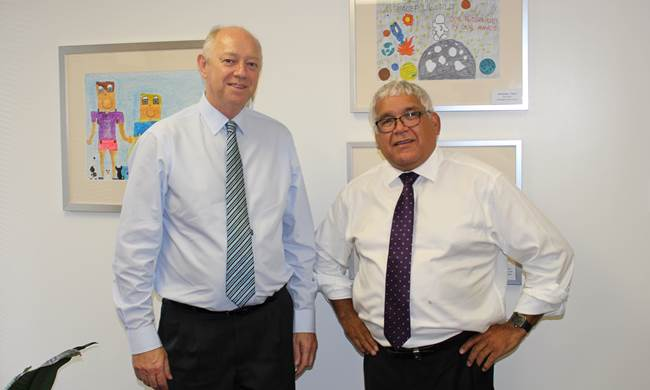 The Commissioner, Colin Pettit, with the Royal Commissioner into the Child Protection and Youth Detention Systems of the Northern Territory, Mick Gooda