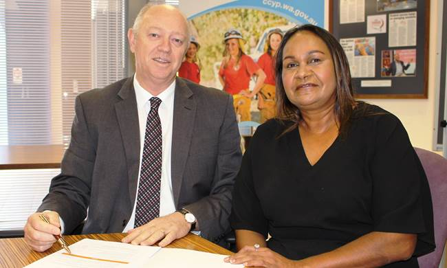 Commissioner Colin Pettit with Family Matters WA Working Group Chairperson Donna Kickett