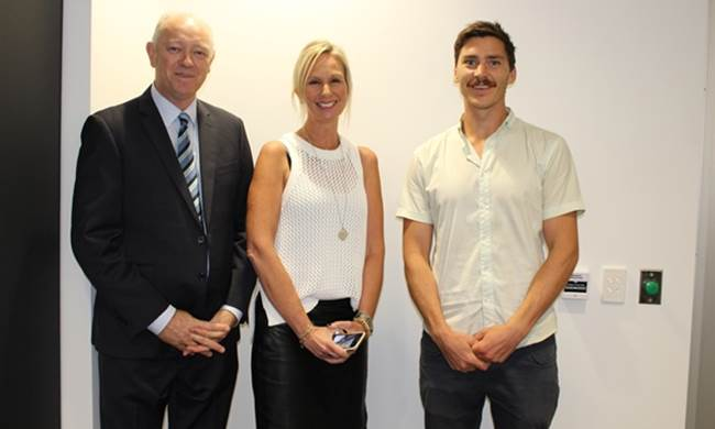 The Commissioner Colin Pettit and Professor Jane Burns with Headspace Geraldton Manager Nick Duigan