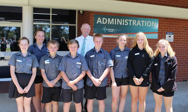 The Commissioner with students from Coodanup College