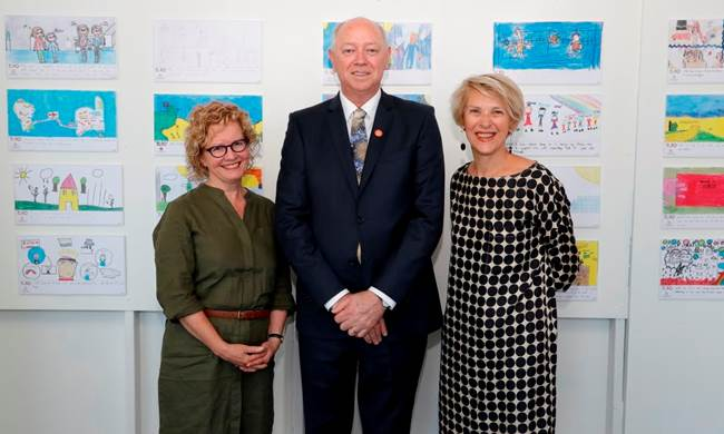 The Commissioner Colin Pettit with previous Commissioners Michelle Scott and Jenni Perkins at the We Are 10 launch