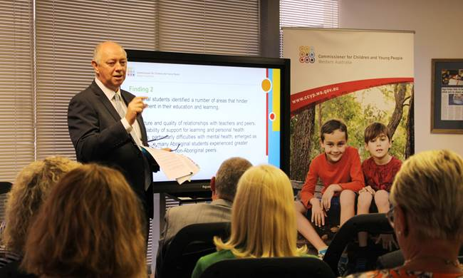 Commissioner Colin Pettit presents the findings from his School and Learning Consultation at the 2018 launch event