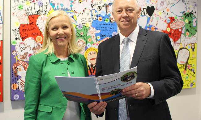 Commissioner Colin Pettit with Professor Donna Cross at the 2018 School and Learning Consultation launch event