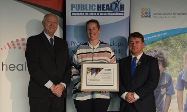 Commissioner Colin Pettit with Julia Dick and Councillor Andrew Burns from the City of Rockingham. The City received the 2018 Children's Consultation category commendable award.