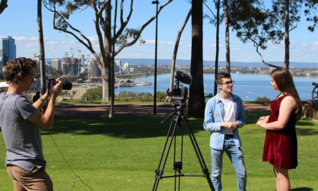 Oscar and Hannah on filming day at Kings Park