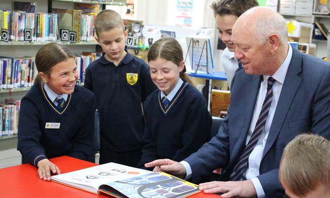 Commissioner Colin Pettit with students from St Josephs Northam