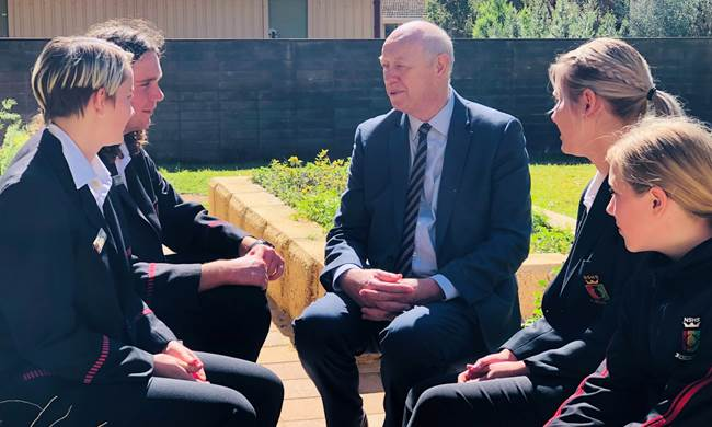 Students from Northam Senior High School share their views on their local community with Commissioner Colin Pettit